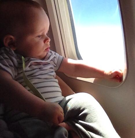 Asher on plane